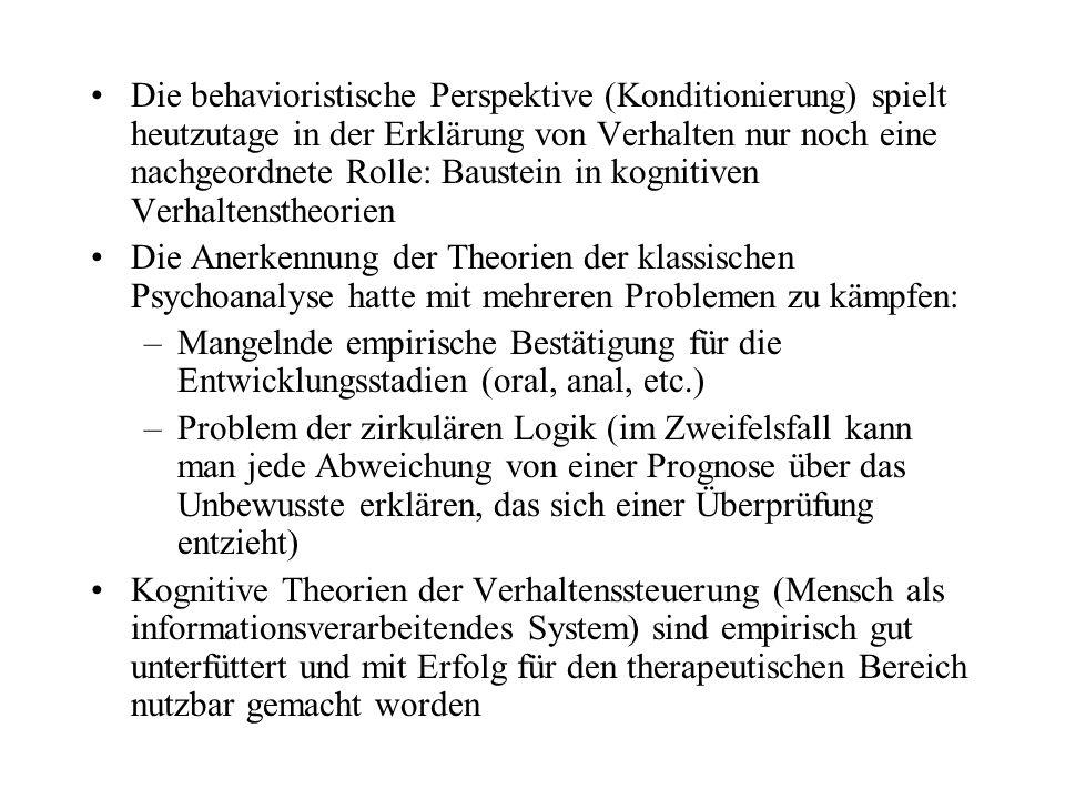 Die behavioristische Perspektive (Konditionierung) spielt heutzutage in der Erklärung von Verhalten nur noch eine nachgeordnete Rolle: Baustein in kog