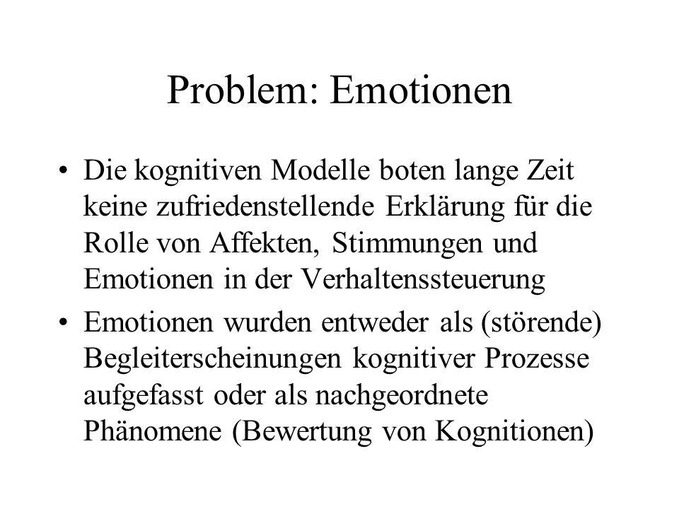 Problem: Emotionen Die kognitiven Modelle boten lange Zeit keine zufriedenstellende Erklärung für die Rolle von Affekten, Stimmungen und Emotionen in
