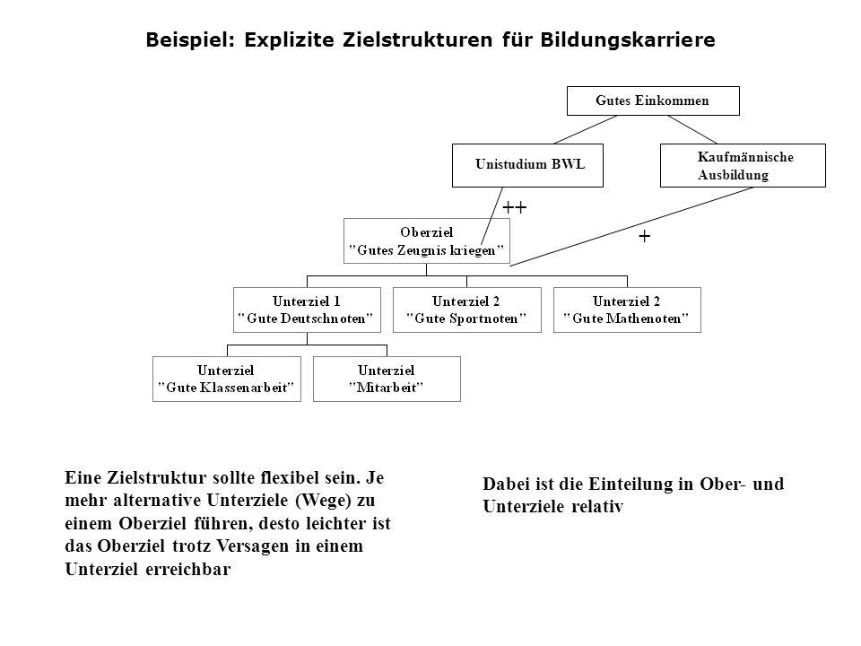 Beispiel: Explizite Zielstrukturen für Bildungskarriere Eine Zielstruktur sollte flexibel sein. Je mehr alternative Unterziele (Wege) zu einem Oberzie