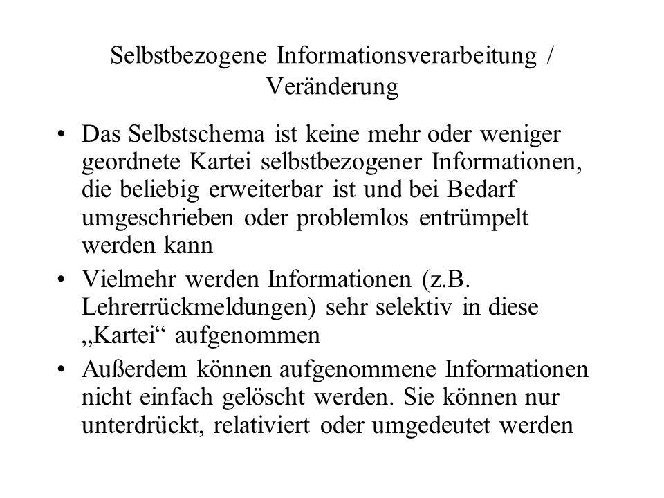 Selbstbezogene Informationsverarbeitung / Veränderung Das Selbstschema ist keine mehr oder weniger geordnete Kartei selbstbezogener Informationen, die