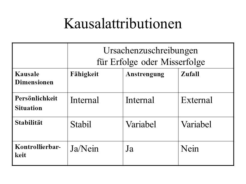 Kausalattributionen Ursachenzuschreibungen für Erfolge oder Misserfolge Kausale Dimensionen FähigkeitAnstrengungZufall Persönlichkeit Situation Intern