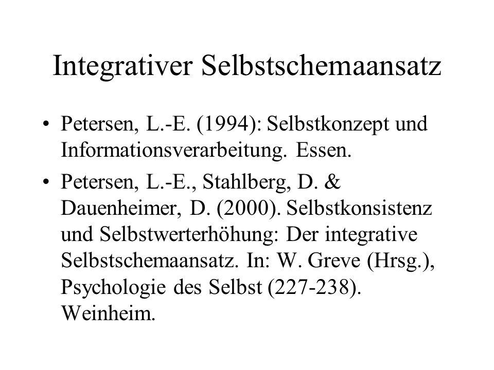 Integrativer Selbstschemaansatz Petersen, L.-E. (1994): Selbstkonzept und Informationsverarbeitung. Essen. Petersen, L.-E., Stahlberg, D. & Dauenheime