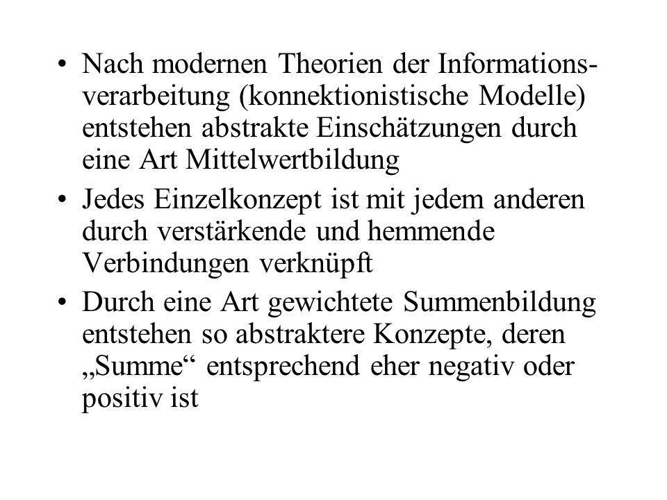 Nach modernen Theorien der Informations- verarbeitung (konnektionistische Modelle) entstehen abstrakte Einschätzungen durch eine Art Mittelwertbildung