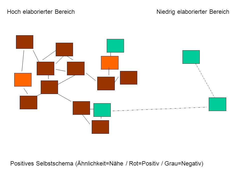 Hoch elaborierter BereichNiedrig elaborierter Bereich Positives Selbstschema (Ähnlichkeit=Nähe / Rot=Positiv / Grau=Negativ)