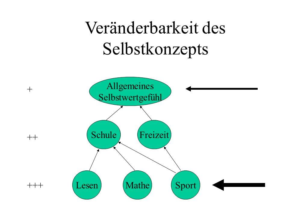 Veränderbarkeit des Selbstkonzepts Allgemeines Selbstwertgefühl LesenMatheSport SchuleFreizeit +++ ++ +