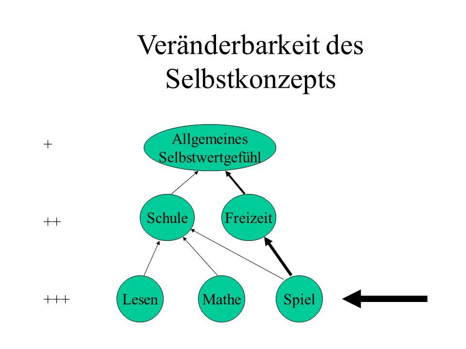 Veränderbarkeit des Selbstkonzepts Allgemeines Selbstwertgefühl LesenMatheSpiel SchuleFreizeit +++ ++ +