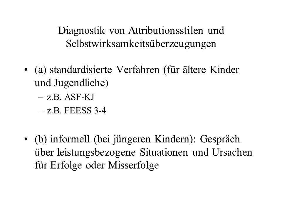 Diagnostik von Attributionsstilen und Selbstwirksamkeitsüberzeugungen (a) standardisierte Verfahren (für ältere Kinder und Jugendliche) –z.B. ASF-KJ –