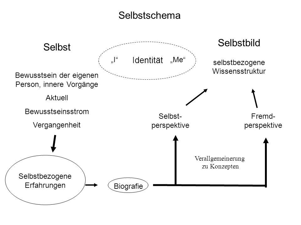 Genese des Selbstschemas Das Selbstschema entsteht durch –Bewertung selbstbezogener Erfahrungen (z.B.