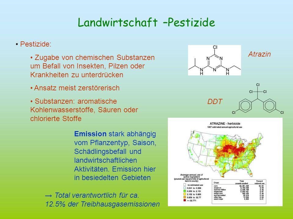 Landwirtschaft –Pestizide Pestizide: Zugabe von chemischen Substanzen um Befall von Insekten, Pilzen oder Krankheiten zu unterdrücken Ansatz meist zer