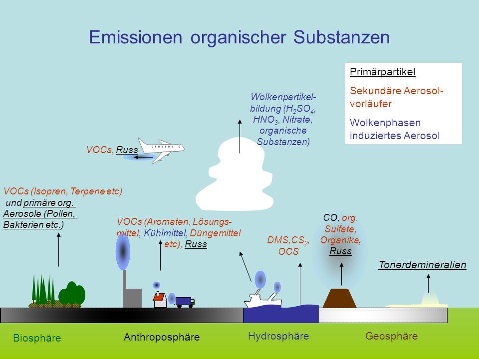 Emissionen organischer Substanzen VOCs (Isopren, Terpene etc) und primäre org. Aerosole (Pollen, Bakterien etc.) VOCs (Aromaten, Lösungs- mittel, Kühl