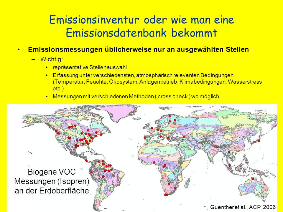 Globale Gesamtemission von anthropogenen VOCs EDGAR database 2007 http://geiacenter.org/
