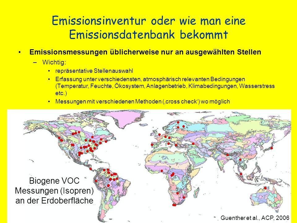 Emissionsinventur oder wie man eine Emissionsdatenbank bekommt Emissionsmessungen üblicherweise nur an ausgewählten Stellen –Wichtig: repräsentative S
