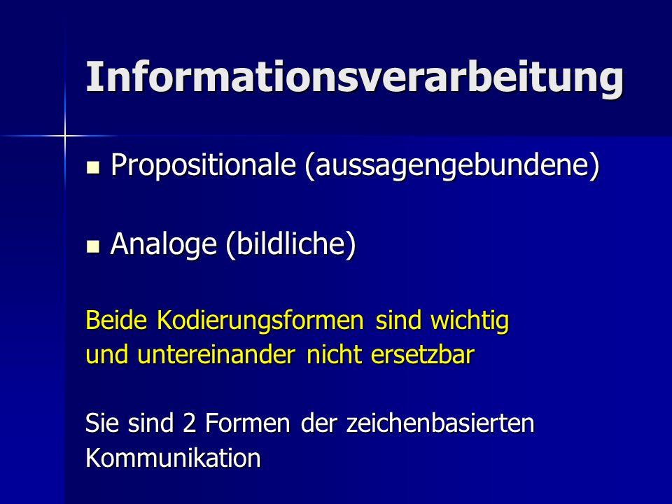 Informationsverarbeitung Propositionale (aussagengebundene) Propositionale (aussagengebundene) Analoge (bildliche) Analoge (bildliche) Beide Kodierungsformen sind wichtig und untereinander nicht ersetzbar Sie sind 2 Formen der zeichenbasierten Kommunikation