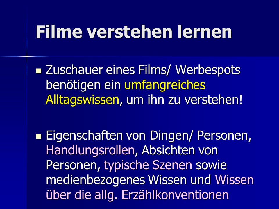 Filme verstehen lernen Zuschauer eines Films/ Werbespots benötigen ein umfangreiches Alltagswissen, um ihn zu verstehen.