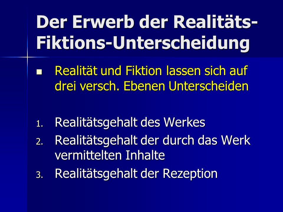 Der Erwerb der Realitäts- Fiktions-Unterscheidung Realität und Fiktion lassen sich auf drei versch.