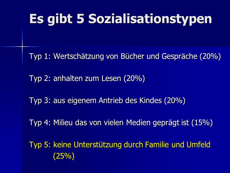 Es gibt 5 Sozialisationstypen Typ 1: Wertschätzung von Bücher und Gespräche (20%) Typ 2: anhalten zum Lesen (20%) Typ 3: aus eigenem Antrieb des Kindes (20%) Typ 4: Milieu das von vielen Medien geprägt ist (15%) Typ 5: keine Unterstützung durch Familie und Umfeld (25%) (25%)