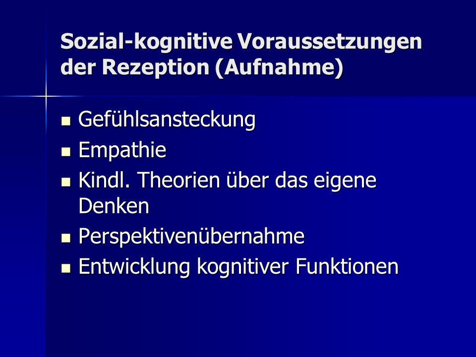 Sozial-kognitive Voraussetzungen der Rezeption (Aufnahme) Gefühlsansteckung Gefühlsansteckung Empathie Empathie Kindl.