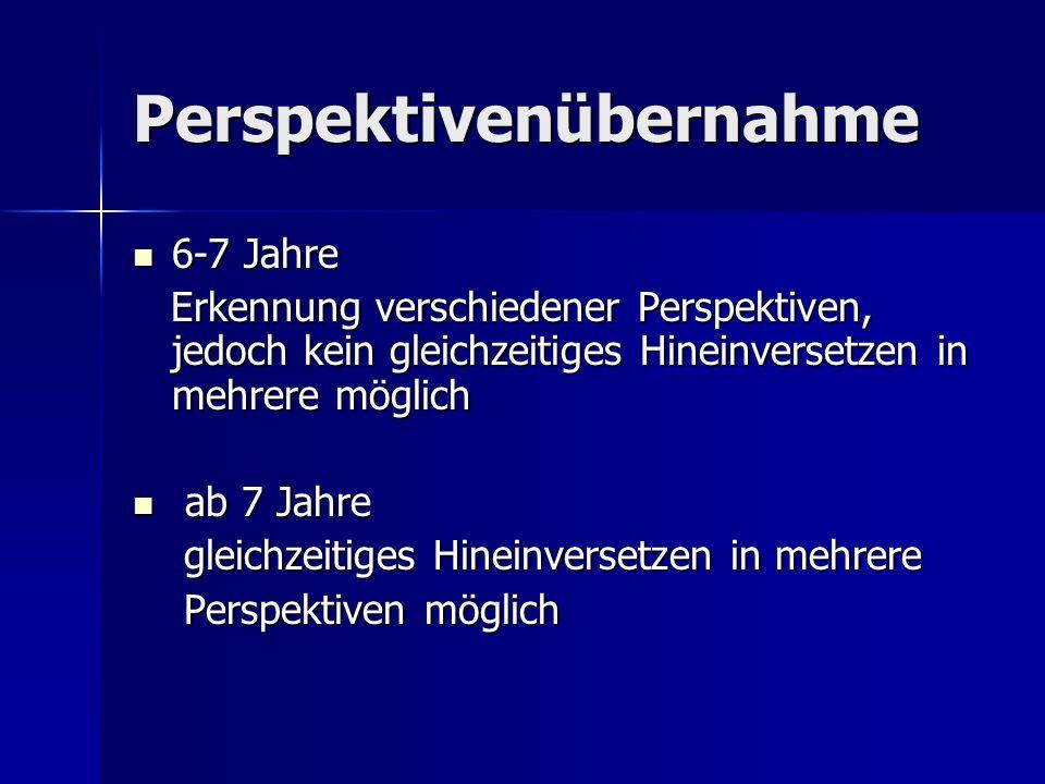 Perspektivenübernahme 6-7 Jahre 6-7 Jahre Erkennung verschiedener Perspektiven, jedoch kein gleichzeitiges Hineinversetzen in mehrere möglich Erkennung verschiedener Perspektiven, jedoch kein gleichzeitiges Hineinversetzen in mehrere möglich ab 7 Jahre ab 7 Jahre gleichzeitiges Hineinversetzen in mehrere gleichzeitiges Hineinversetzen in mehrere Perspektiven möglich Perspektiven möglich