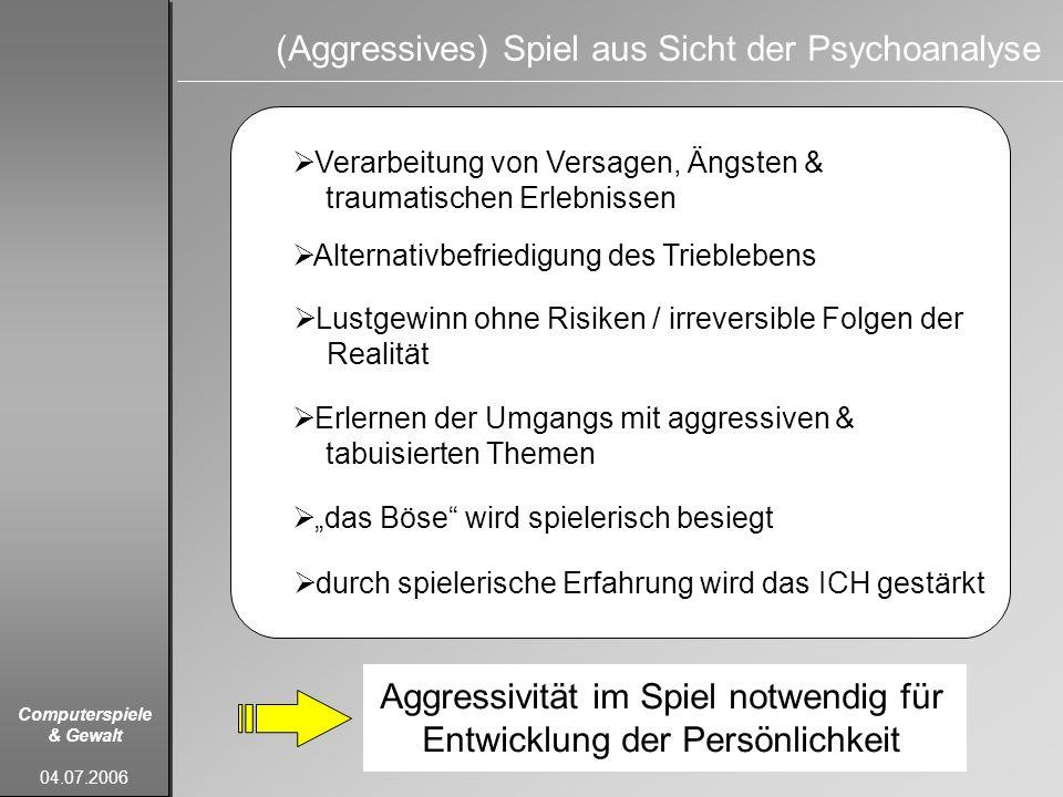 Computerspiele & Gewalt 04.07.2006 (Aggressives) Spiel aus Sicht der Psychoanalyse Verarbeitung von Versagen, Ängsten & traumatischen Erlebnissen Alte