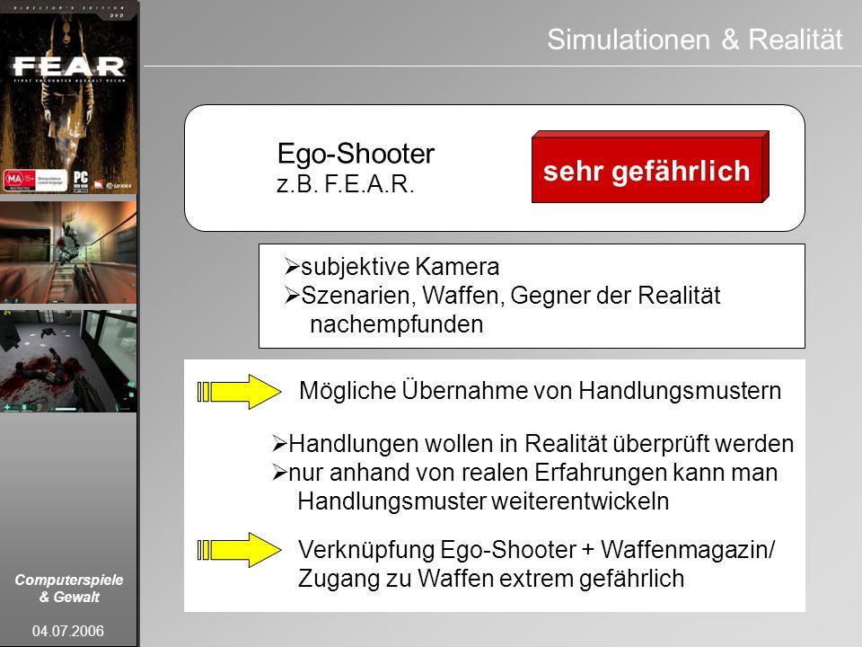 Computerspiele & Gewalt 04.07.2006 Ego-Shooter z.B. F.E.A.R. sehr gefährlich Simulationen & Realität subjektive Kamera Szenarien, Waffen, Gegner der R