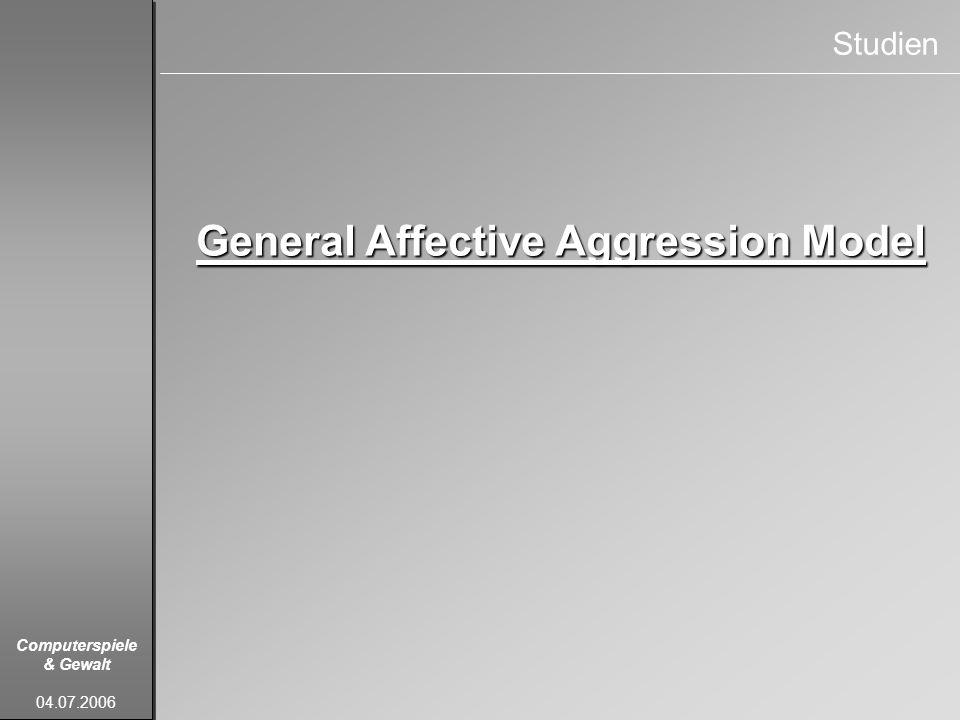 Computerspiele & Gewalt 04.07.2006 Studien General Affective Aggression Model