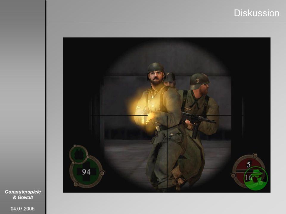 Computerspiele & Gewalt 04.07.2006 Diskussion
