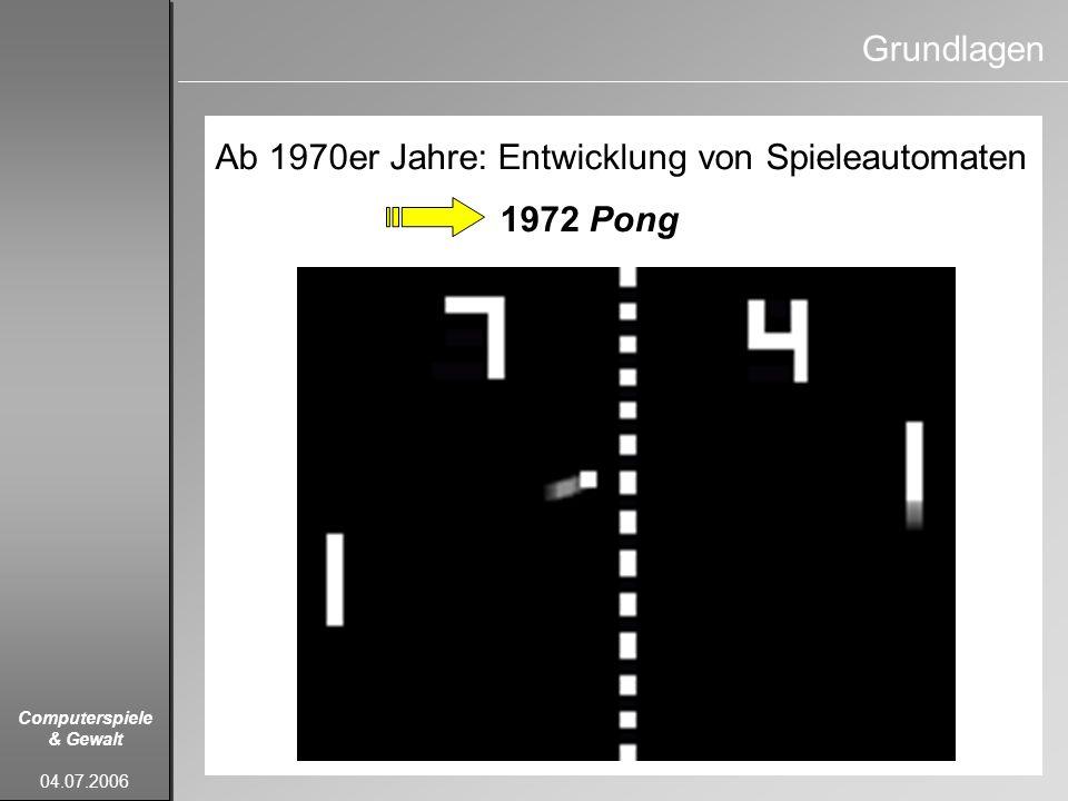 Computerspiele & Gewalt 04.07.2006 Grundlagen Ab 1970er Jahre: Entwicklung von Spieleautomaten 1972 Pong