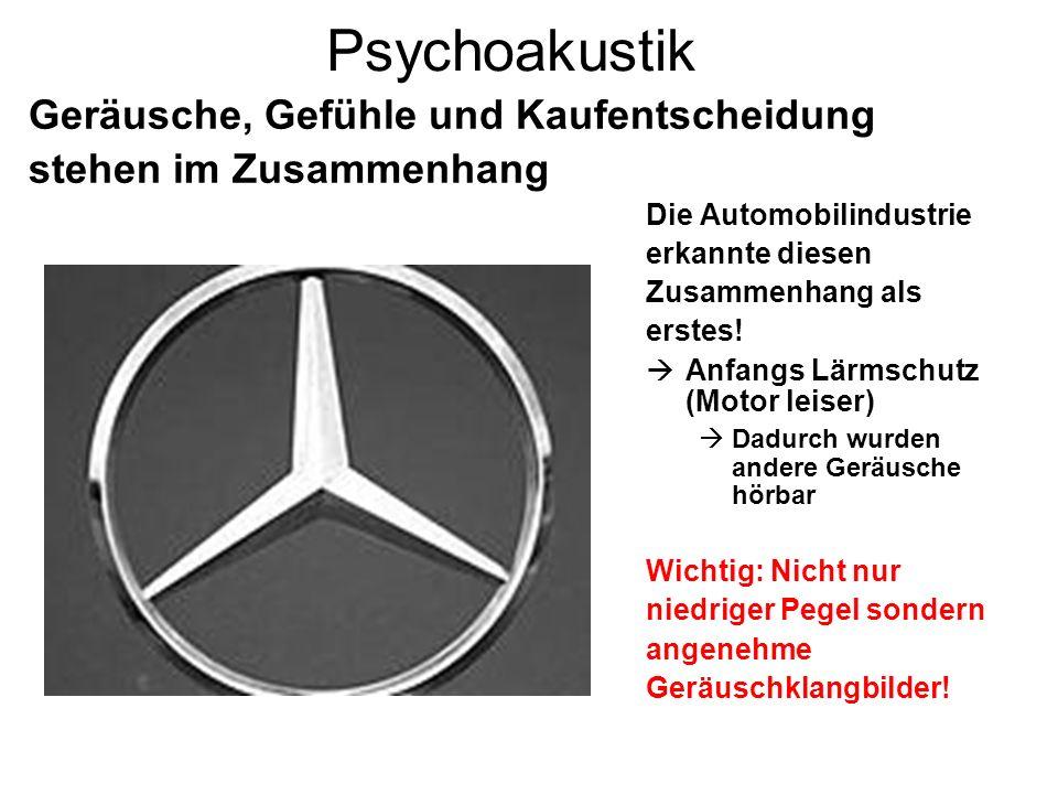Psychoakustik Die Automobilindustrie erkannte diesen Zusammenhang als erstes! Anfangs Lärmschutz (Motor leiser) Dadurch wurden andere Geräusche hörbar
