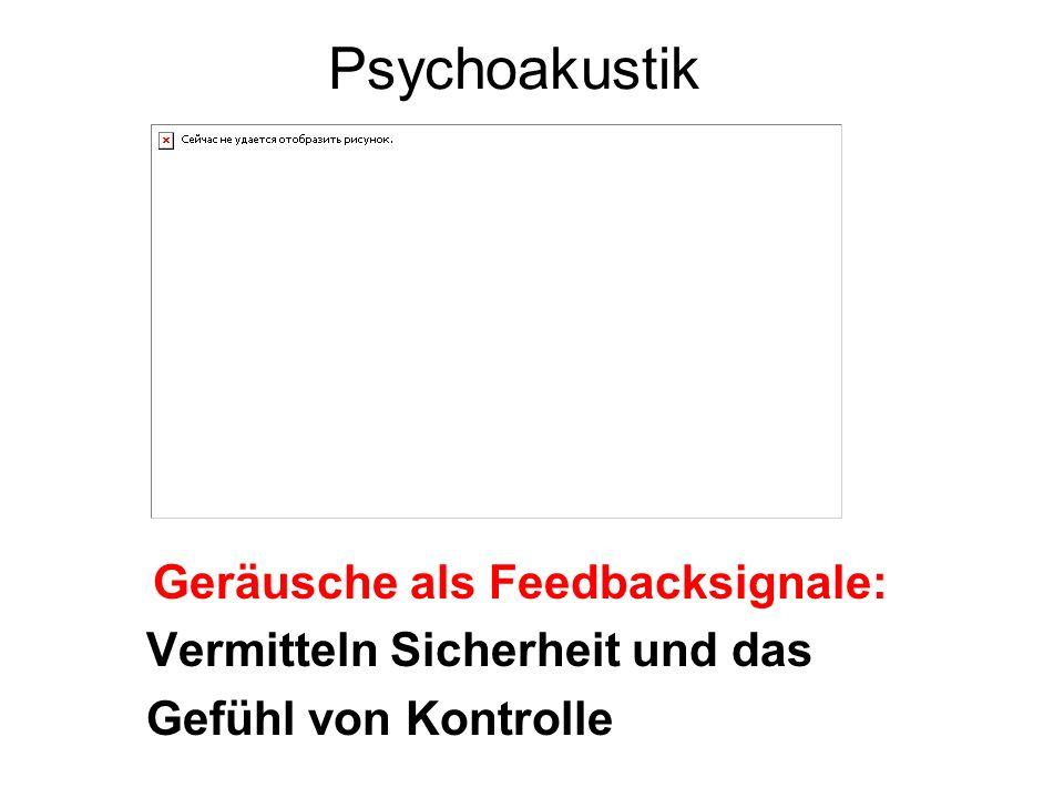 Geräusche als Feedbacksignale: Vermitteln Sicherheit und das Gefühl von Kontrolle Psychoakustik