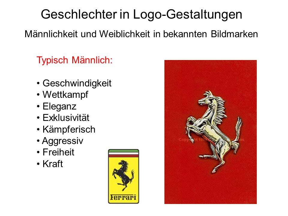 Geschlechter in Logo-Gestaltungen Typisch Männlich: Geschwindigkeit Wettkampf Eleganz Exklusivität Kämpferisch Aggressiv Freiheit Kraft Männlichkeit u