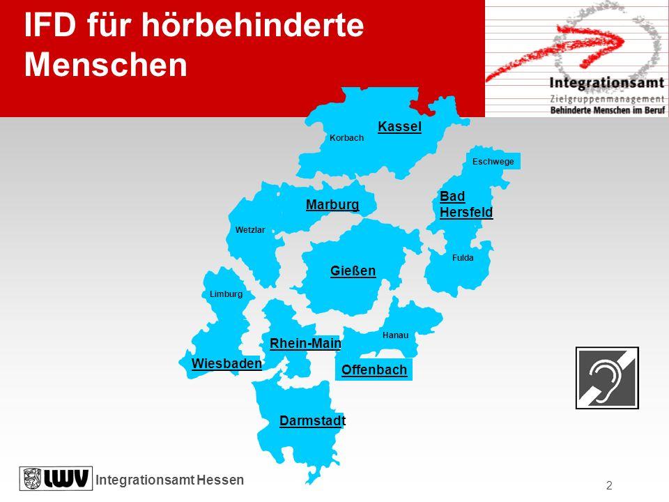 Integrationsamt Hessen 2 Darmstadt Rhein-Main Hanau Offenbach Limburg Wiesbaden Gießen Marburg Wetzlar Fulda Bad Hersfeld Eschwege Kassel Korbach IFD