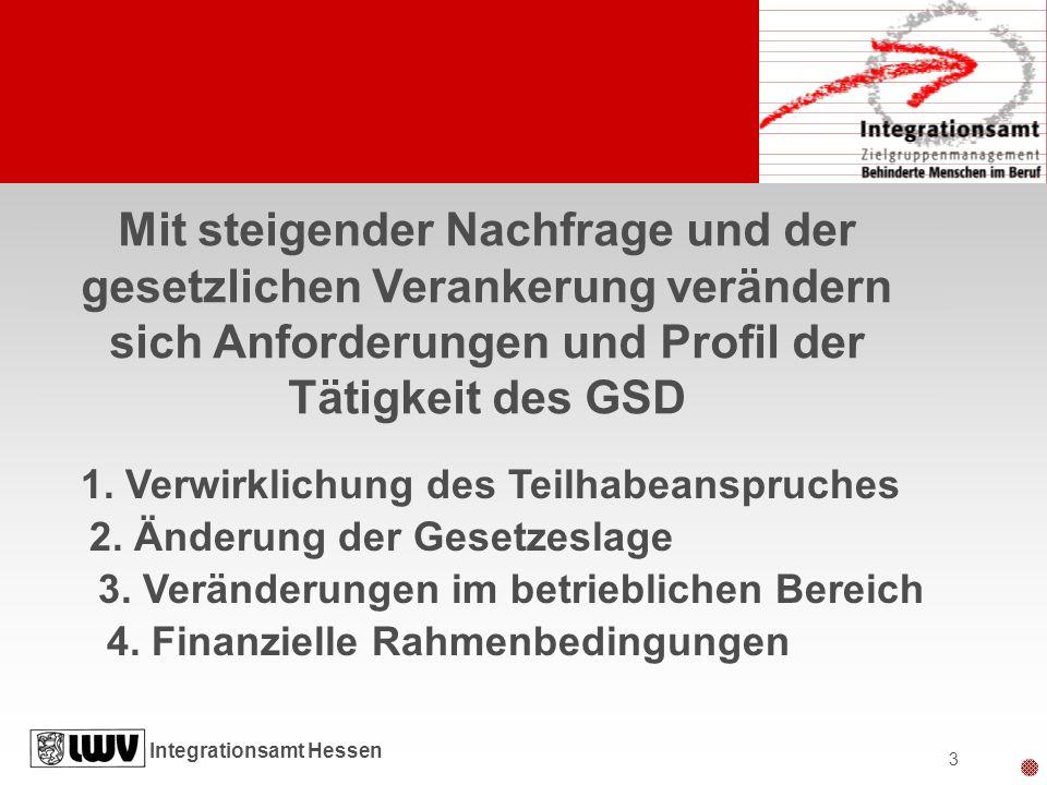 Integrationsamt Hessen 3 Mit steigender Nachfrage und der gesetzlichen Verankerung verändern sich Anforderungen und Profil der Tätigkeit des GSD 1. Ve