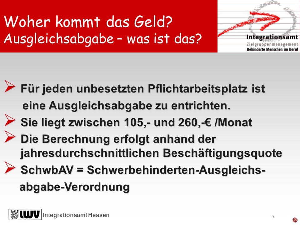 Integrationsamt Hessen 7 Für jeden unbesetzten Pflichtarbeitsplatz ist Für jeden unbesetzten Pflichtarbeitsplatz ist eine Ausgleichsabgabe zu entricht