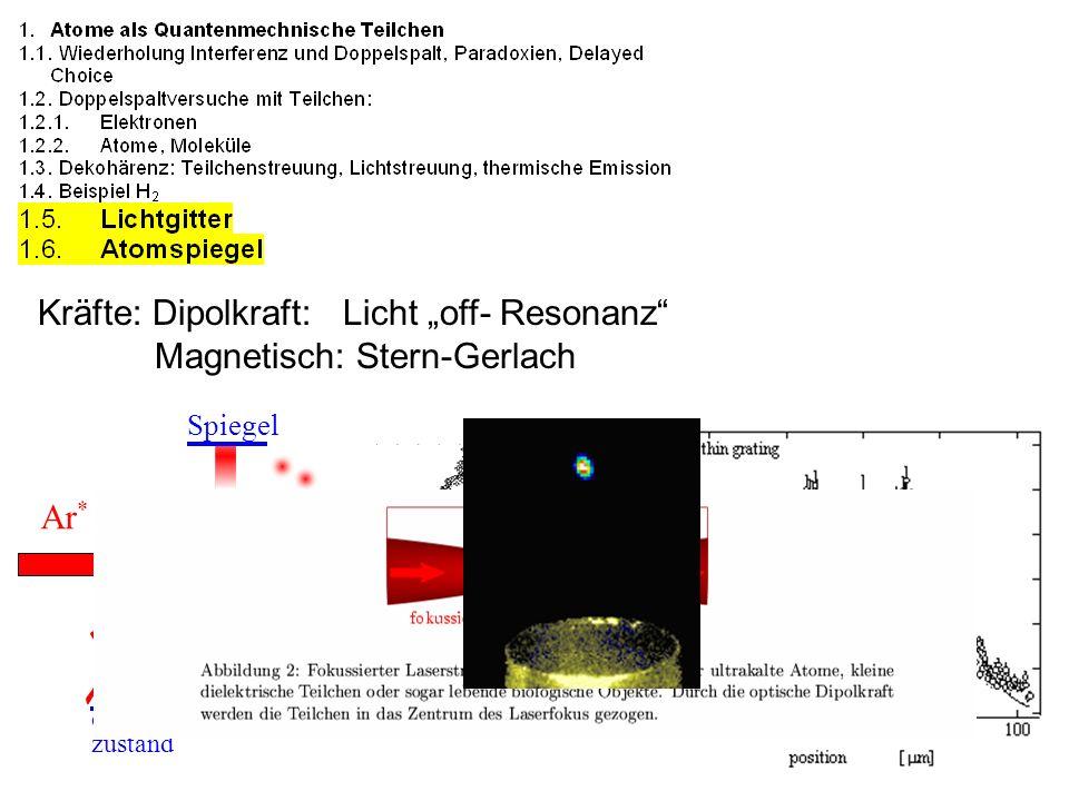 Kräfte: Dipolkraft: Licht off- Resonanz Magnetisch: Stern-Gerlach Ar * Spiegel 2p 8 Grund zustand 1s 5