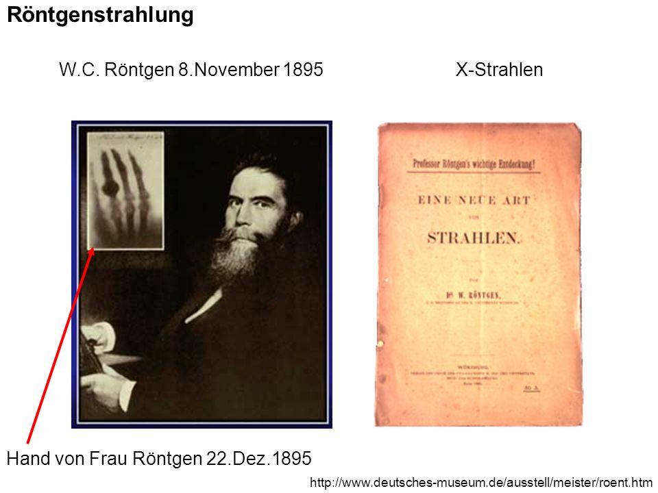 Röntgenstrahlung W.C. Röntgen 8.November 1895X-Strahlen Hand von Frau Röntgen 22.Dez.1895 http://www.deutsches-museum.de/ausstell/meister/roent.htm