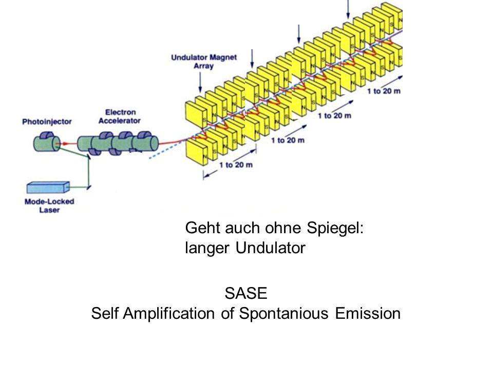 Geht auch ohne Spiegel: langer Undulator SASE Self Amplification of Spontanious Emission
