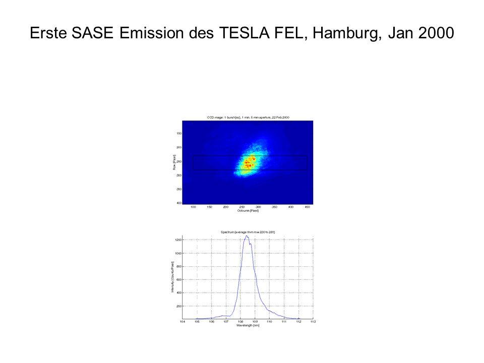 Erste SASE Emission des TESLA FEL, Hamburg, Jan 2000