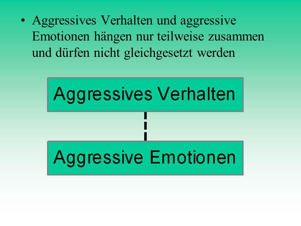 Aggressives Verhalten und aggressive Emotionen hängen nur teilweise zusammen und dürfen nicht gleichgesetzt werden