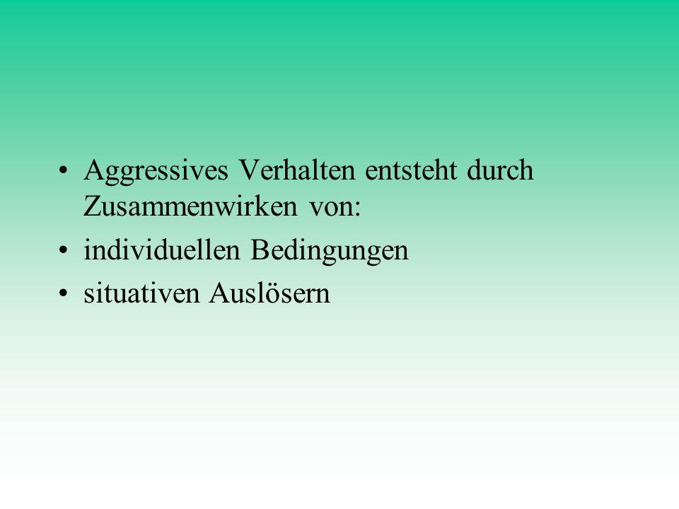Aggressives Verhalten entsteht durch Zusammenwirken von: individuellen Bedingungen situativen Auslösern