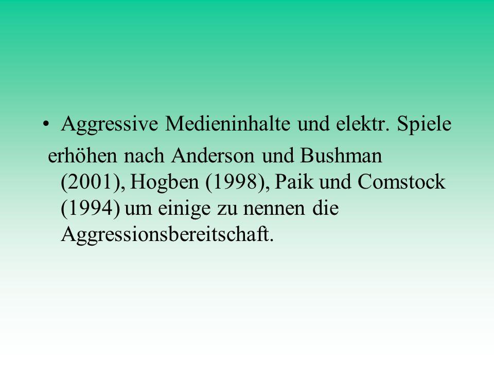 Aggressive Medieninhalte und elektr. Spiele erhöhen nach Anderson und Bushman (2001), Hogben (1998), Paik und Comstock (1994) um einige zu nennen die