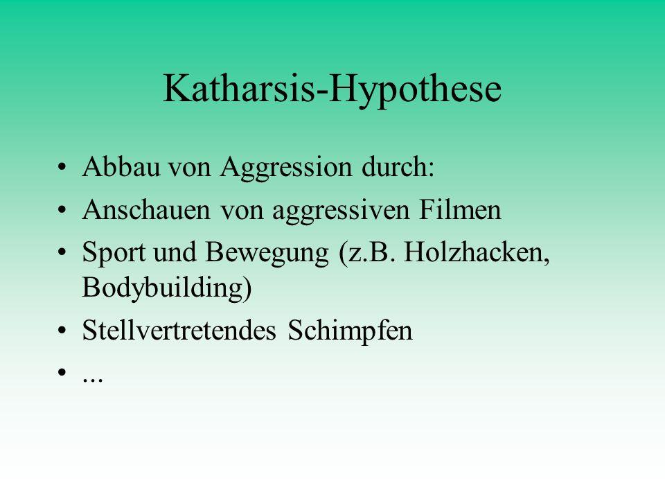 Katharsis-Hypothese Abbau von Aggression durch: Anschauen von aggressiven Filmen Sport und Bewegung (z.B. Holzhacken, Bodybuilding) Stellvertretendes
