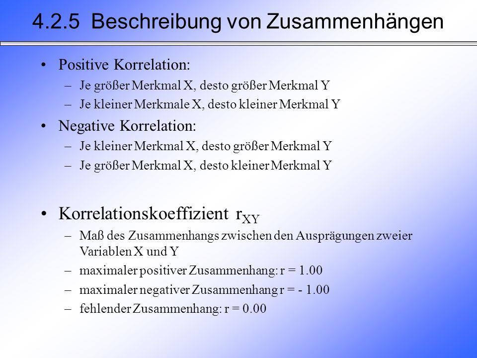 Positive Korrelation: –Je größer Merkmal X, desto größer Merkmal Y –Je kleiner Merkmale X, desto kleiner Merkmal Y Negative Korrelation: –Je kleiner M