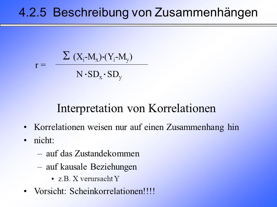 Interpretation von Korrelationen Korrelationen weisen nur auf einen Zusammenhang hin nicht: –auf das Zustandekommen –auf kausale Beziehungen z.B.