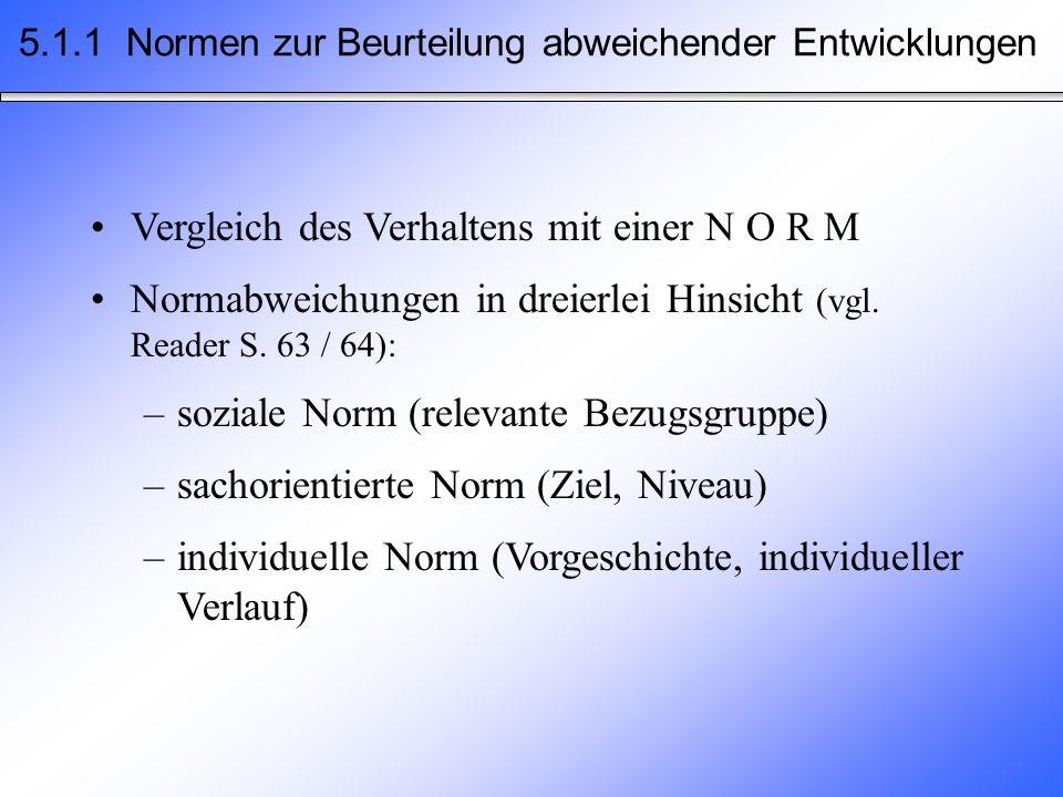 Vergleich des Verhaltens mit einer N O R M Normabweichungen in dreierlei Hinsicht (vgl. Reader S. 63 / 64): –soziale Norm (relevante Bezugsgruppe) –sa