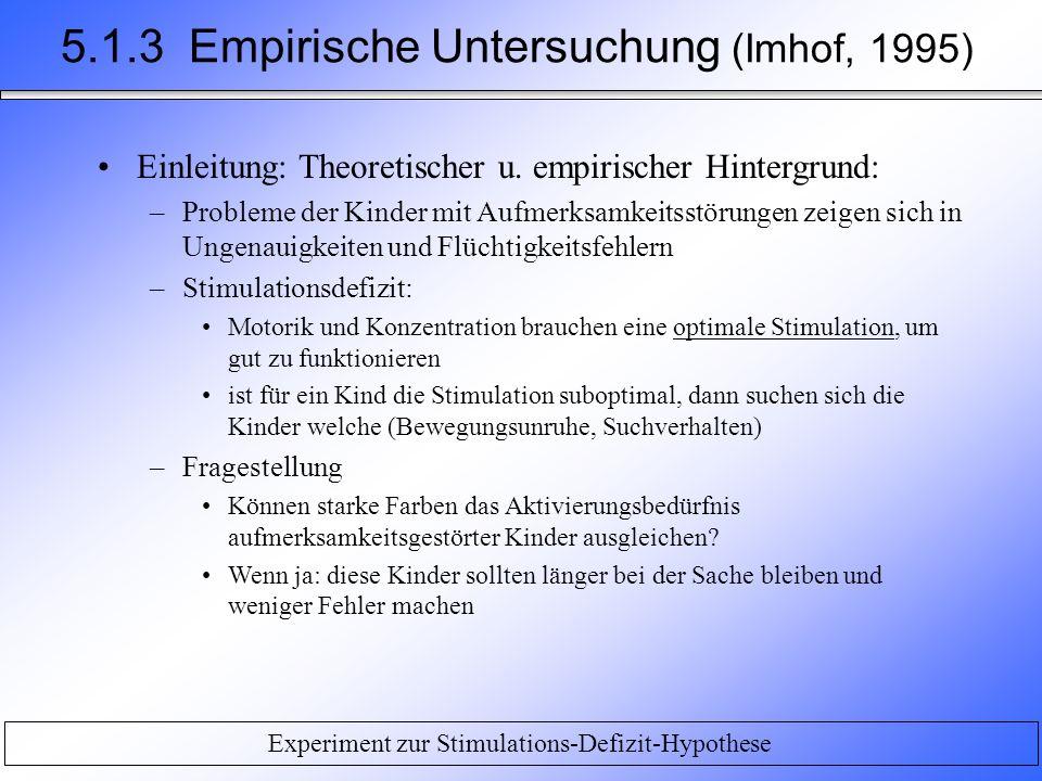 Experiment zur Stimulations-Defizit-Hypothese Einleitung: Theoretischer u. empirischer Hintergrund: –Probleme der Kinder mit Aufmerksamkeitsstörungen