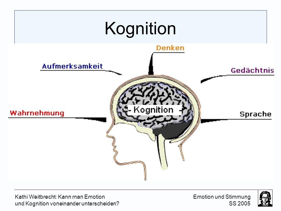 Kathi Weitbrecht: Kann man Emotion und Kognition voneinander unterscheiden? Emotion und Stimmung SS 2005 Kognition