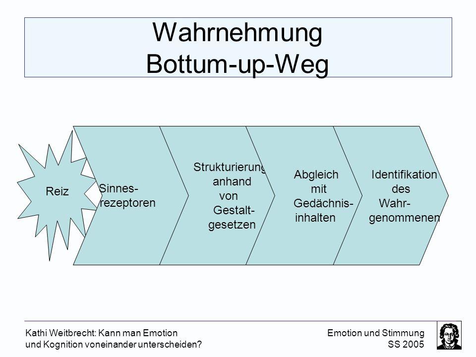 Kathi Weitbrecht: Kann man Emotion und Kognition voneinander unterscheiden? Emotion und Stimmung SS 2005 Wahrnehmung Bottum-up-Weg Identifikation des
