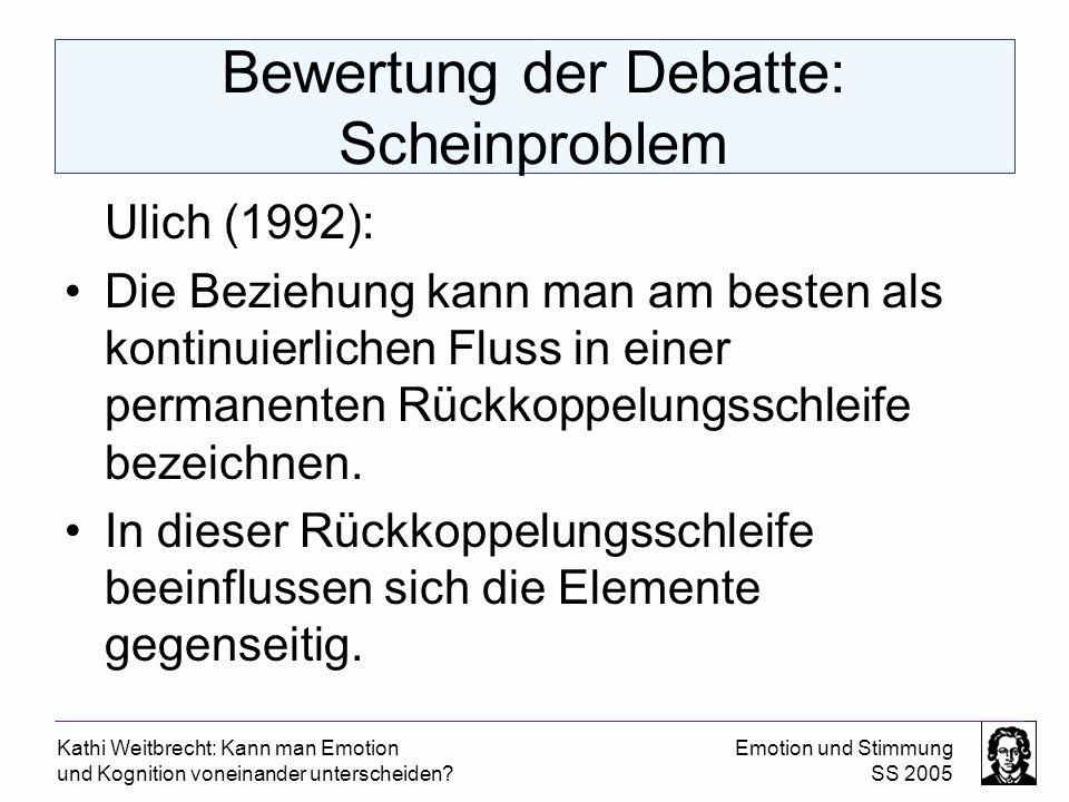 Kathi Weitbrecht: Kann man Emotion und Kognition voneinander unterscheiden? Emotion und Stimmung SS 2005 Bewertung der Debatte: Scheinproblem Ulich (1