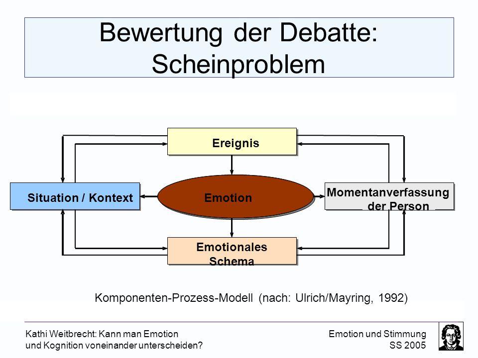Kathi Weitbrecht: Kann man Emotion und Kognition voneinander unterscheiden? Emotion und Stimmung SS 2005 Bewertung der Debatte: Scheinproblem Ereignis