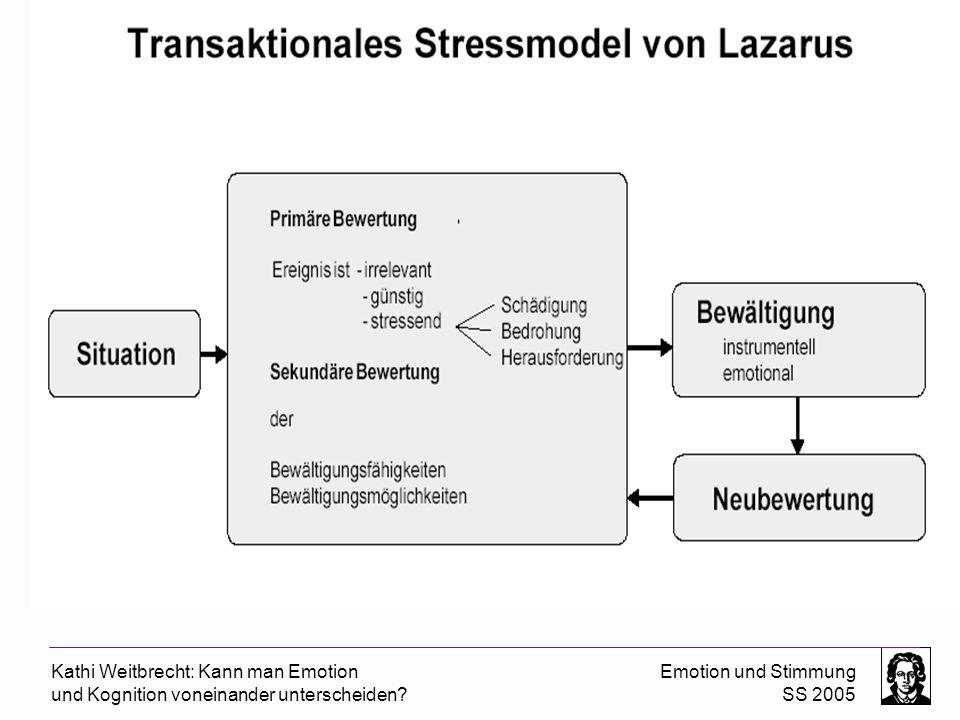 Kathi Weitbrecht: Kann man Emotion und Kognition voneinander unterscheiden? Emotion und Stimmung SS 2005